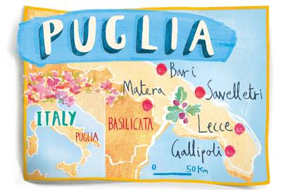 A map of Puglia