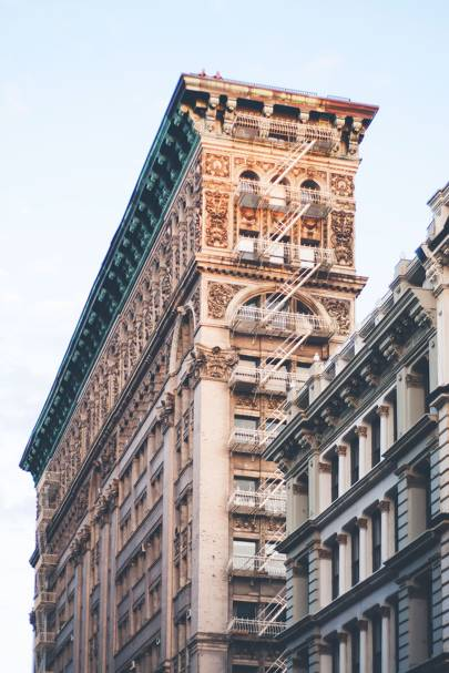 21b7d7bdd7 Building on Broadway Street in Soho New York City with a beautiful  intricate facade.