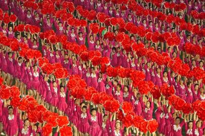Girls with magnolias at the Arirang Games