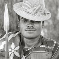 An Ifotaka villager with a traditional hat and spear