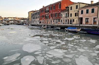 Venice's waters freeze