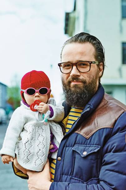 Graphic designer Omar Hauksson and daughter, Reykjavik, Iceland