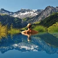 Infinity pool at the Cambrian hotel, Swiss Alps