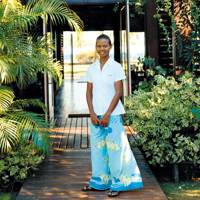 A member of staff at the hotel entrance