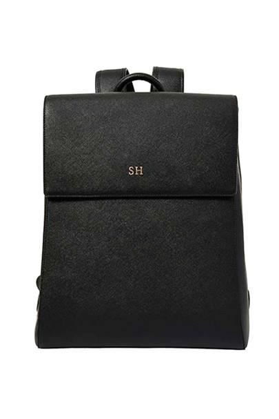 1. Monogrammed black backpack