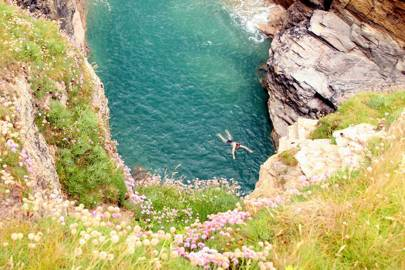 Cliff jumping in Port Gaverne, Cornwall