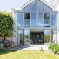 A glass-walled home