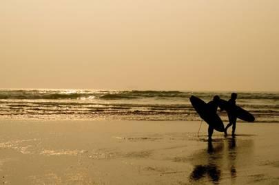 Surfing in Polzeath