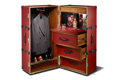 Globe-Trotter's red-leather Steamer Trunk