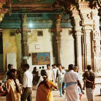 Crowds at the temple