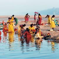 Pilgrims at the water