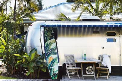 An Airstream caravan at Atlantic Byron Bay, Australia