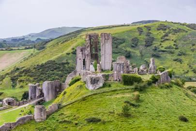 Corfe Castle, near the Purbeck Hills