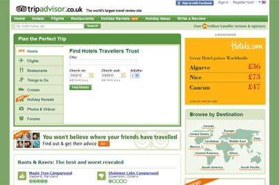 Travel companies: Travel websites