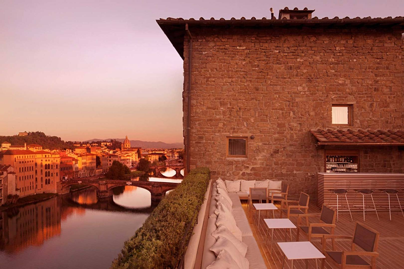 The Continentale Rooftop Bar Drinking Outside In Florence