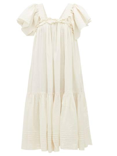 Story MFG Aida ruffled linen-blend dress