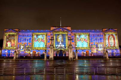 Buckingham Palace lit up for the Diamond Jubilee
