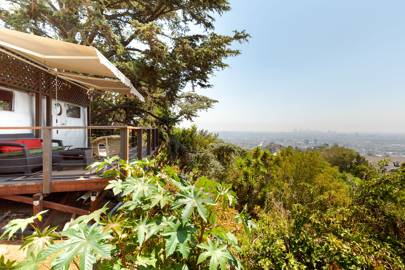 A vintage trailer in the Hollywood Hills, Los Angeles