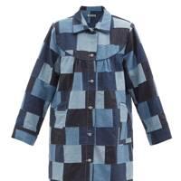 Long patchwork denim jacket