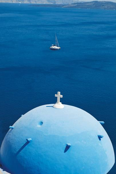 The cupola of a church in Oia, Santorini