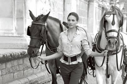 Leading horses
