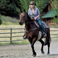 Rachel Johnson in the saddle