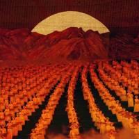 The sun rising behind Mount Paektu at the Arirang Games
