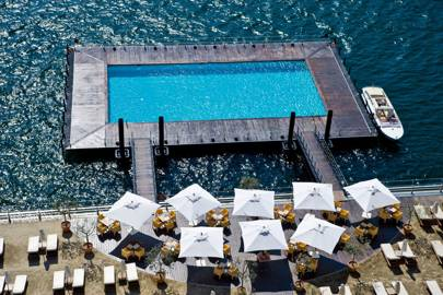 Floating pool on Lake Como, Italy
