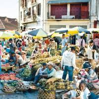 Market stalls in Madagascar